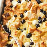 So yummy and easy: Blueberry Surprise French Toast Casserole.  I only used about 1/3 of the cream cheese in half of the casserole and took out one egg.