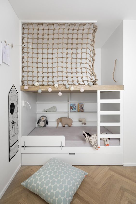 Super Cute Scandinavian Kids Room With Loft Bed And Built In Play