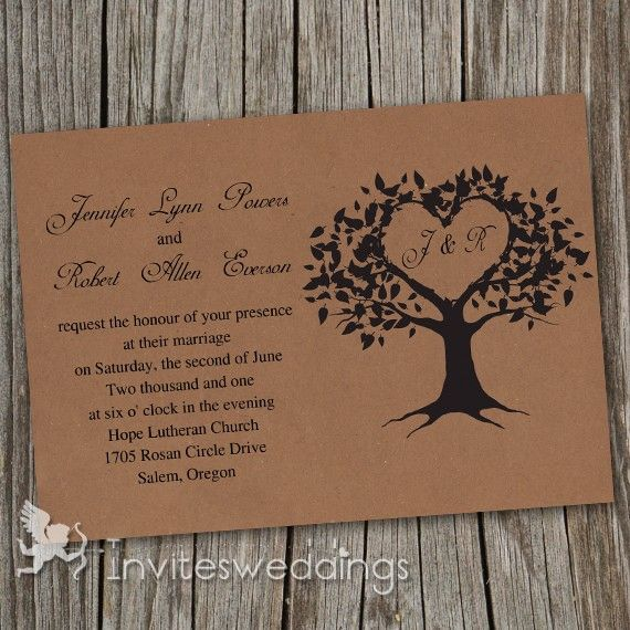 Inexpensive Wedding Invitation Ideas: Cheap Vintage Brown Love Tree Wedding Invitations IWI249