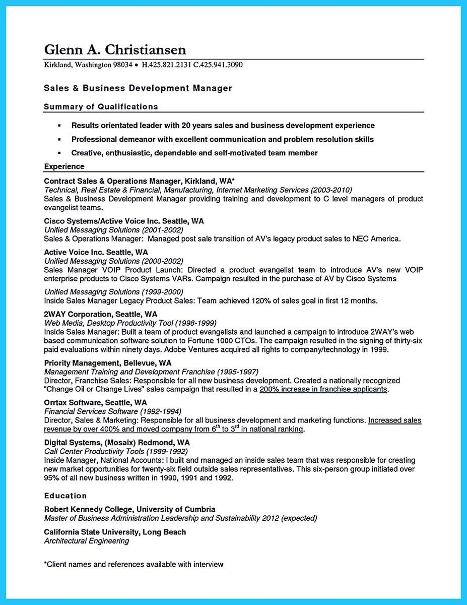Sales Manager Resume Nice Marvelous Things To Write Best Business Development Manager