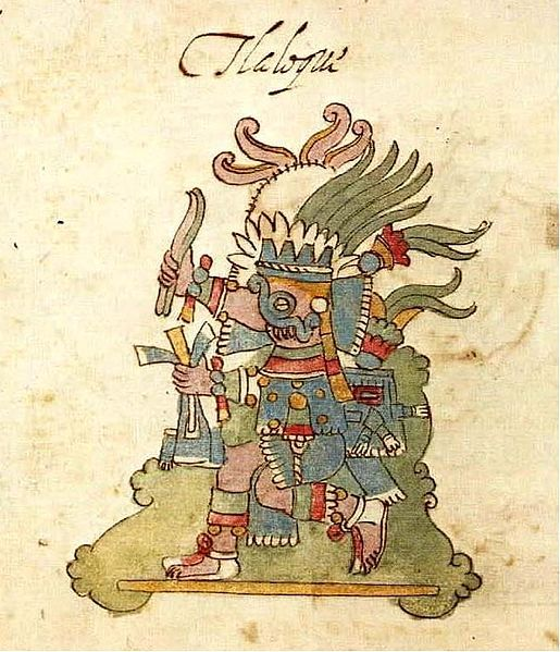 """Tlaloc was first married to Xochiquetzal, a goddess of flowers, but then Tezcatlipoca kidnapped her. He later married the goddess Chalchiuhtlicue, """"She of the Jade Skirt"""". In Aztec mythic cosmography, Tlaloc ruled the fourth layer of the 'Upper World"""", or heavens, which is called Tlalocan (""""place of Tlaloc"""") in several Aztec codices, such as the Vaticanus A and Florentine codices. Described as a place of unending Springtime and a paradise of green plants"""