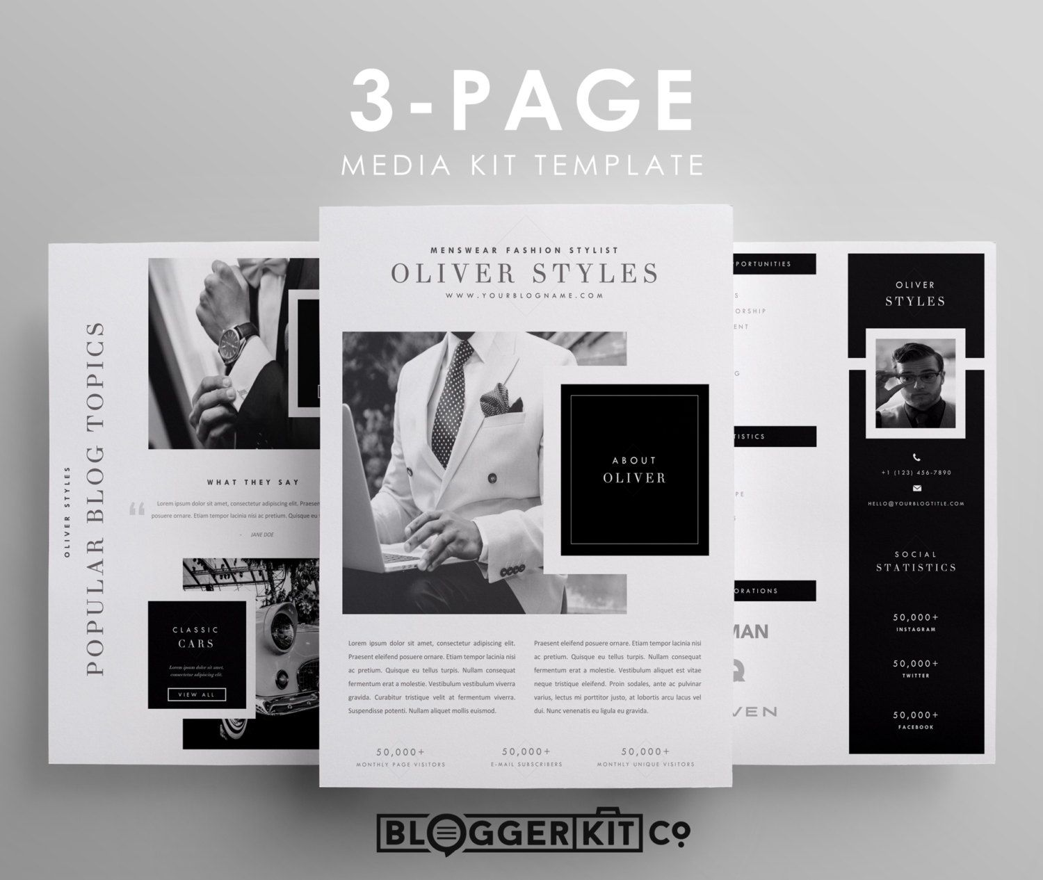 Three page media kit template press kit template for Online media kit template