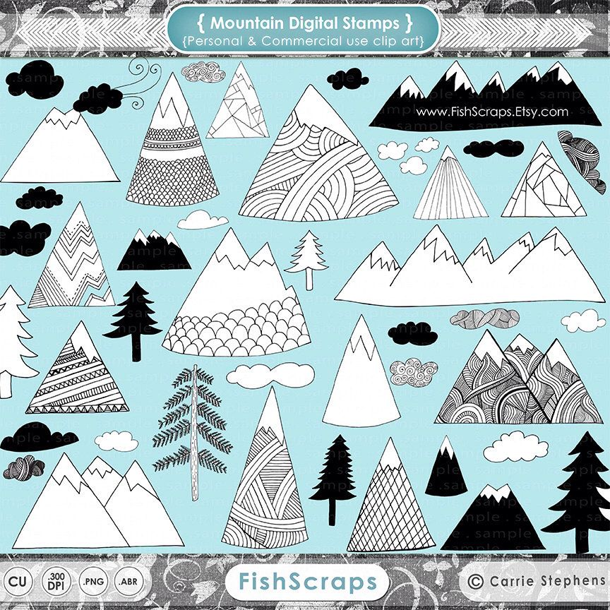 Winter Mountain Clipart Scandinavian Modern Hand Drawn Pine Etsy How To Draw Hands Mountain Drawing Mountain Clipart