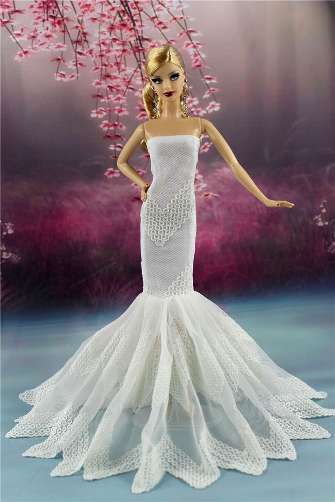 Fashion Party Dress//Wedding Clothes//Gown+Veil For Barbie Doll Dresses