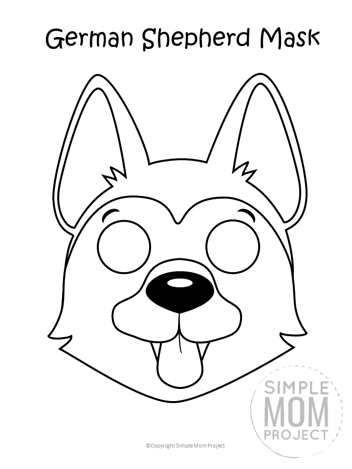 Dog Face Mask Templates Simple Mom Project Dog Mask Puppy Coloring Pages Dog Face