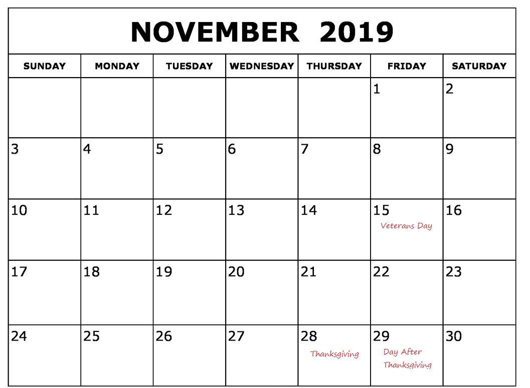 Free November 2019 Calendar With Holidays 2019 Calendar Holiday