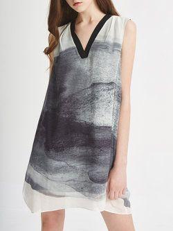 Gray Vintage A-line V Neck Printed Mini Dress
