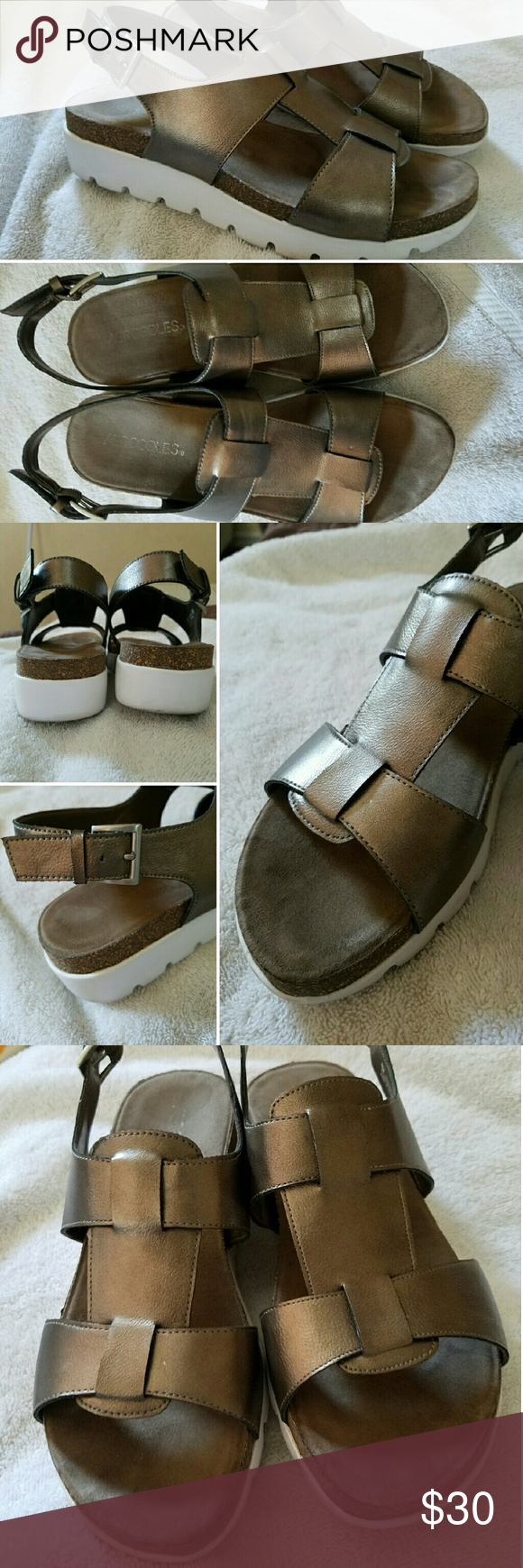 Aerosoles, Throw Back Flat Sandals, like new Bronze, white man made soles; open toe; synthetic upper. Worn twice, not for my feet VERY COMFORTABLE, offers are highly welcome =) AEROSOLES Shoes Sandals