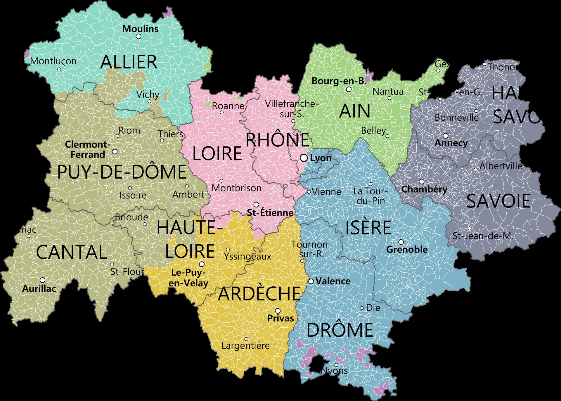 Carte de la région avec ses départements et la métropole de Lyon
