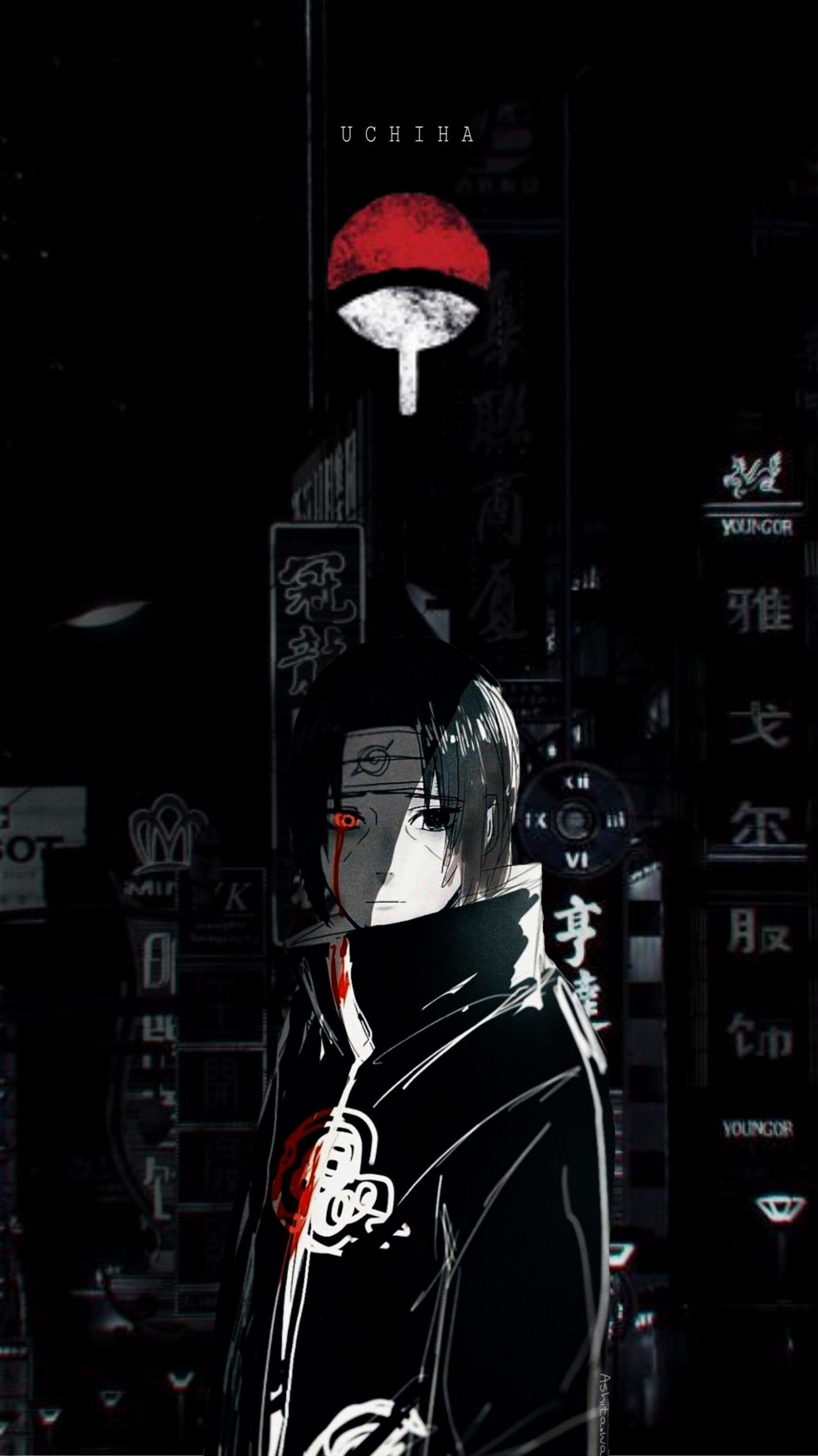 Itachi uchiha/ Nero wallpaper