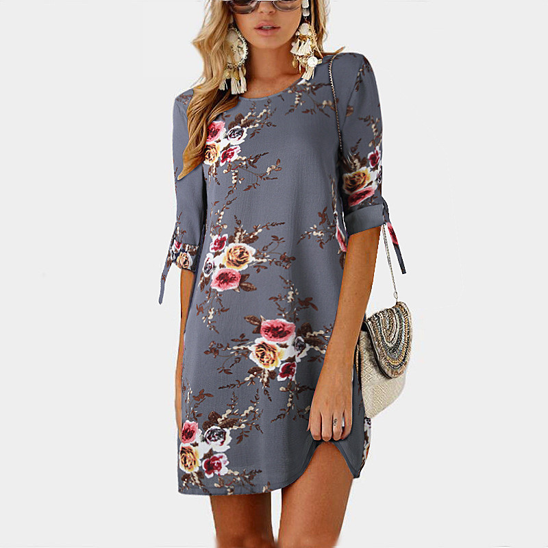 Fashion Women/'s Summer Boho Casual Printed Maxi Party Loose Beach Dress Sundress