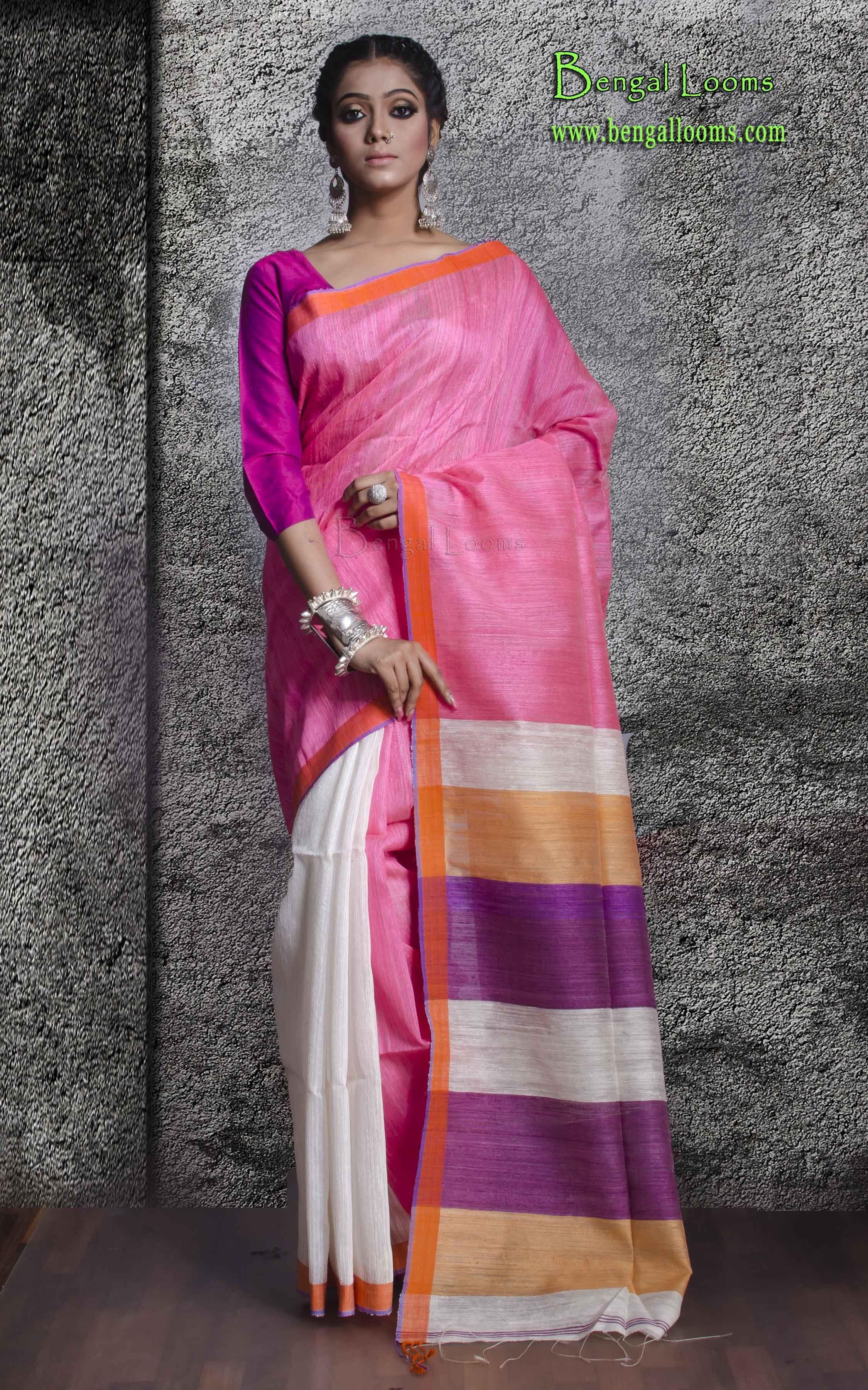 Pure Khadi Silk Half and Half Saree in Pink and Cream