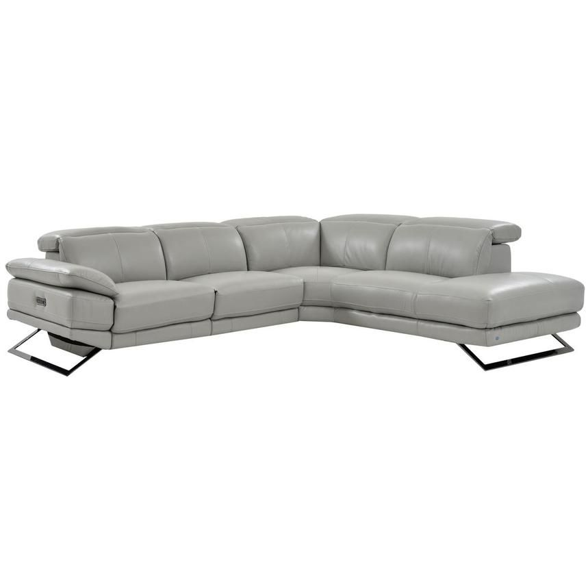 Toronto Light Gray Power Motion Leather Sofa W Right Chaise Leather Sofa Furniture Leather Sectional Sofas