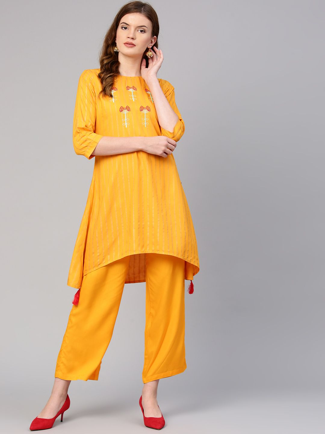 Striped Printed Yellow Jacket with Top and Palazzo India Pakistani Women/'s Set