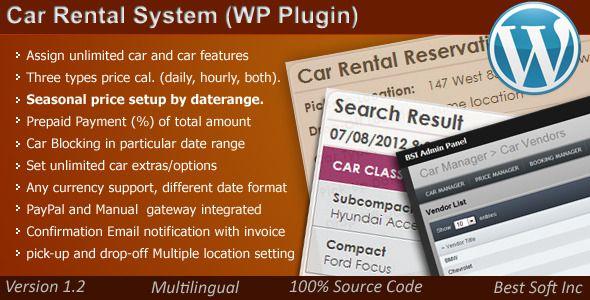 Car Rental System (WordPress Plugin)   Wordpress plugins. Car rental. Plugins
