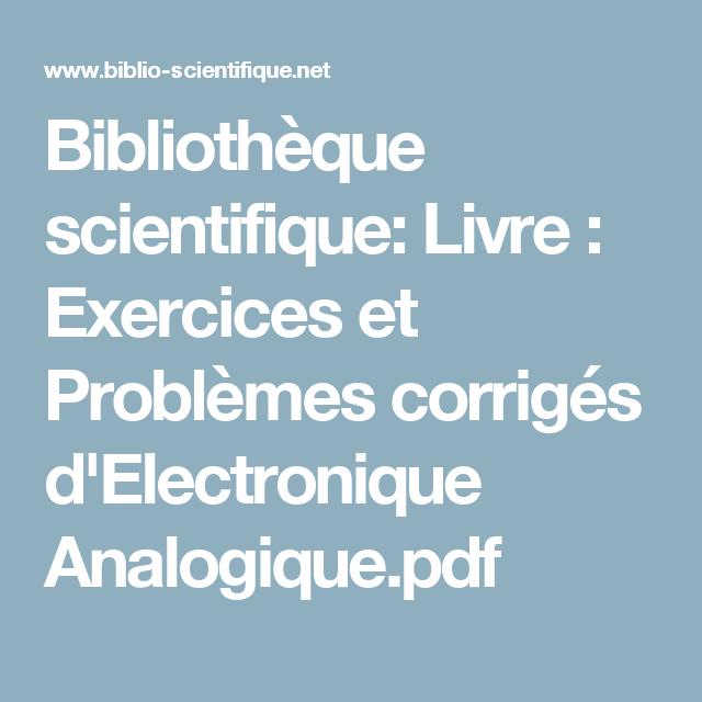 Bibliotheque Scientifique Livre Exercices Et Problemes