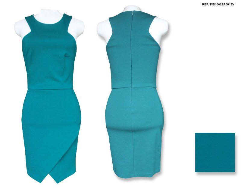 VESTIDO VERDE ASSIMÉTRICO  DESCRIÇÃO: Vestido verde musgo em tecido levemente encorpado com parte frontal transpassada e assimétrica. Aposte com acessórios divertidos e coloridos.  ___ COMPOSIÇÃO: 70% Viscose; 25% Poliamide; 5% Elastane. ___ COR: Verde. ___ REF: FIB1002ZA1113V