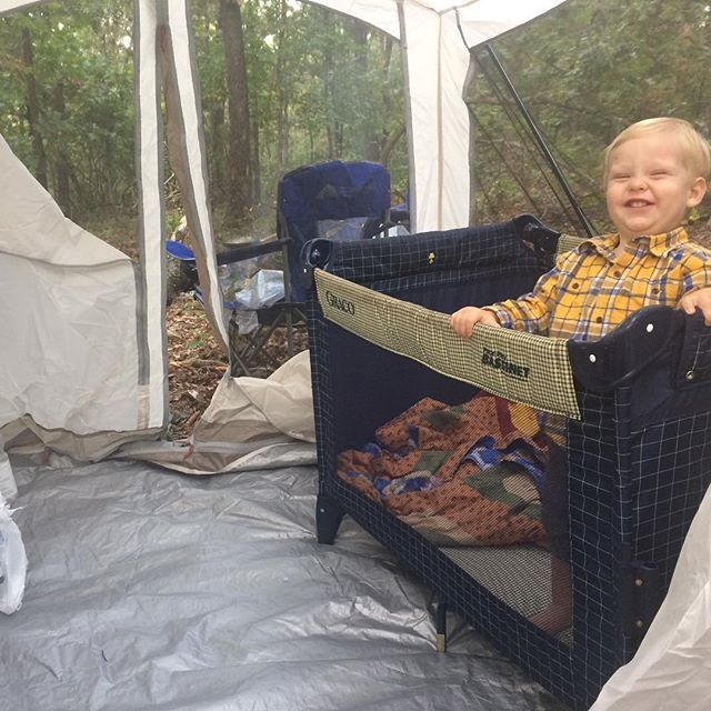 """Dillard family campout for this guy's 18 months party!  Happy half birthday Israel, we love you buddy!  Say """"cheese"""" lol"""