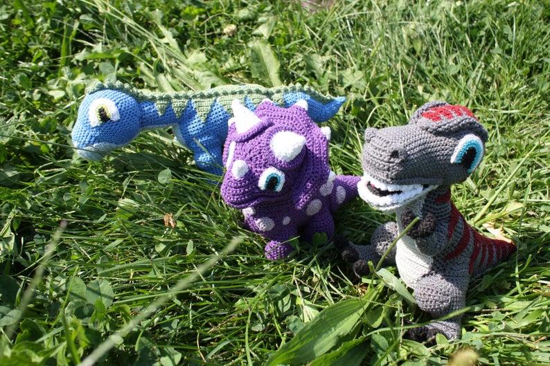 Dinosaur Trio #crochetdinosaurpatterns Dinosaur Trio | Etsy #crochetdinosaurpatterns