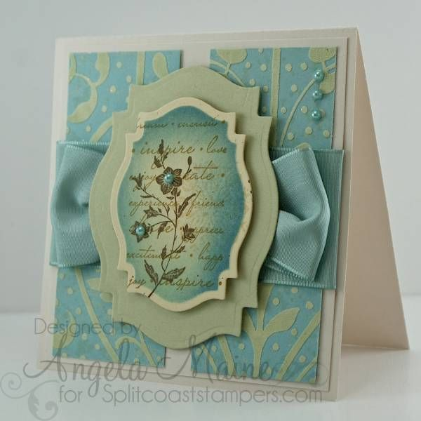 Handmade card luv the colors ua and soft green like handmade card luv the colors ua and soft green like thelabel design with inking on the main image lovely use of wide coordinating ribbon m4hsunfo