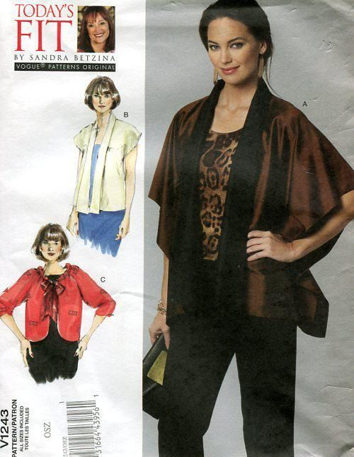 FREE US SHIP Vogue 1243 Sandra Betzina Caftan Cape Jacket Middy 32 ...