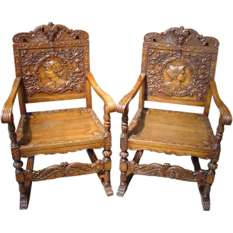 Pair of Antique Renaissance Style Walnut Wood Chairs  Antiques
