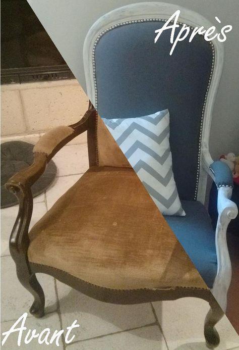 r novation d un vieux fauteuil voltaire chaise design pinterest. Black Bedroom Furniture Sets. Home Design Ideas