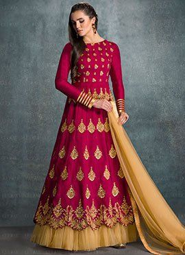 1129fbb7bc Magenta Banglori Silk Anarkali Suit | Dresses | Silk anarkali suits ...