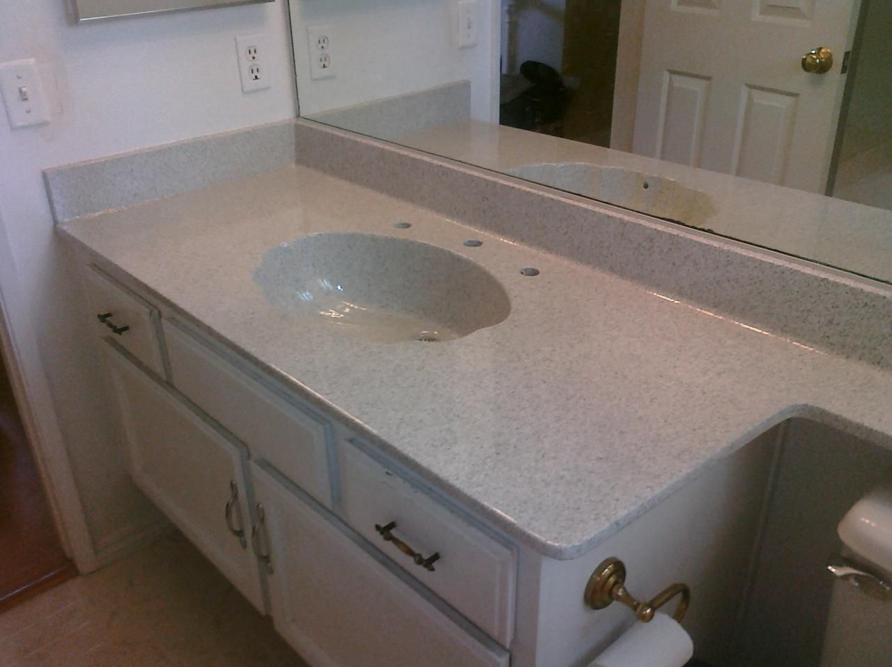 Pkb Reglazing Cultured Marble Countertop Sink Combo Reglazed Travertine Speckled