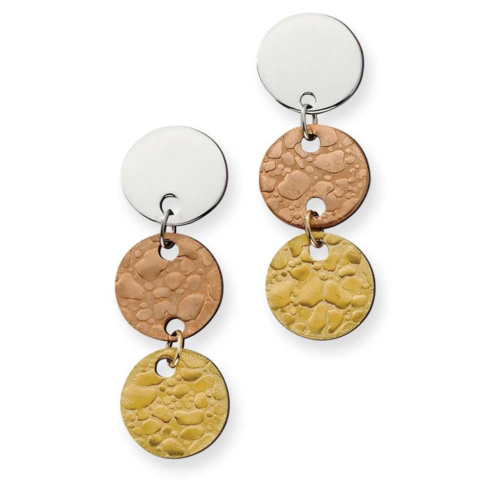 Chisel Gold and Rose IP Plated Circle Earrings, Women's