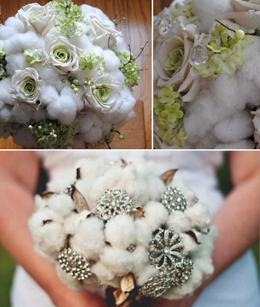 Cotton ball bouquets maybe with a bit of silver glitter and spray ...