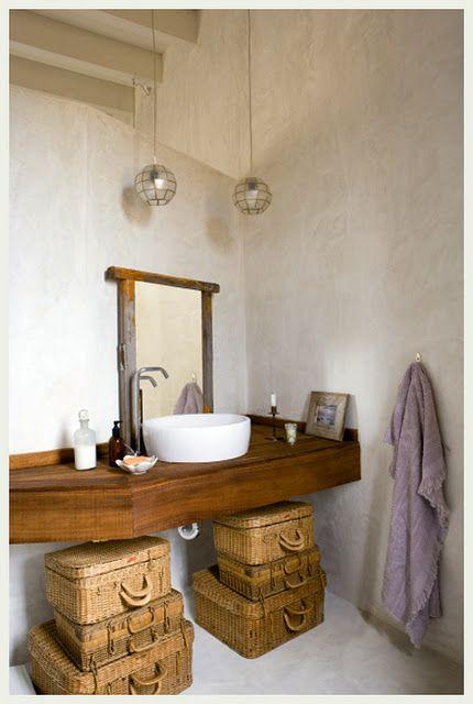 Basket collection under floating vanity