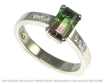 Trendy Platinum watermelon tourmaline engagement ring with side diamonds Harriet Kelsall Jewellery Design