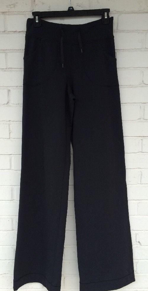 34a17c69a2 Womens Lululemon Still Wide Leg Yoga Pants Black Sweats Size 4 Tall  #LululemonAthletica #TracksuitsSweats