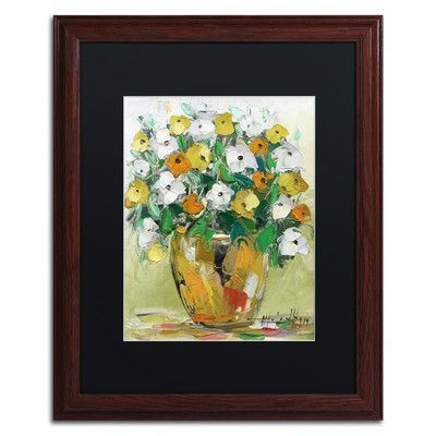 """Trademark Art """"Spring Flowers in a Vase 4"""" by Hai Odelia Framed Painting Print Size: 20"""" H x 16"""" W x 0.5"""" D"""