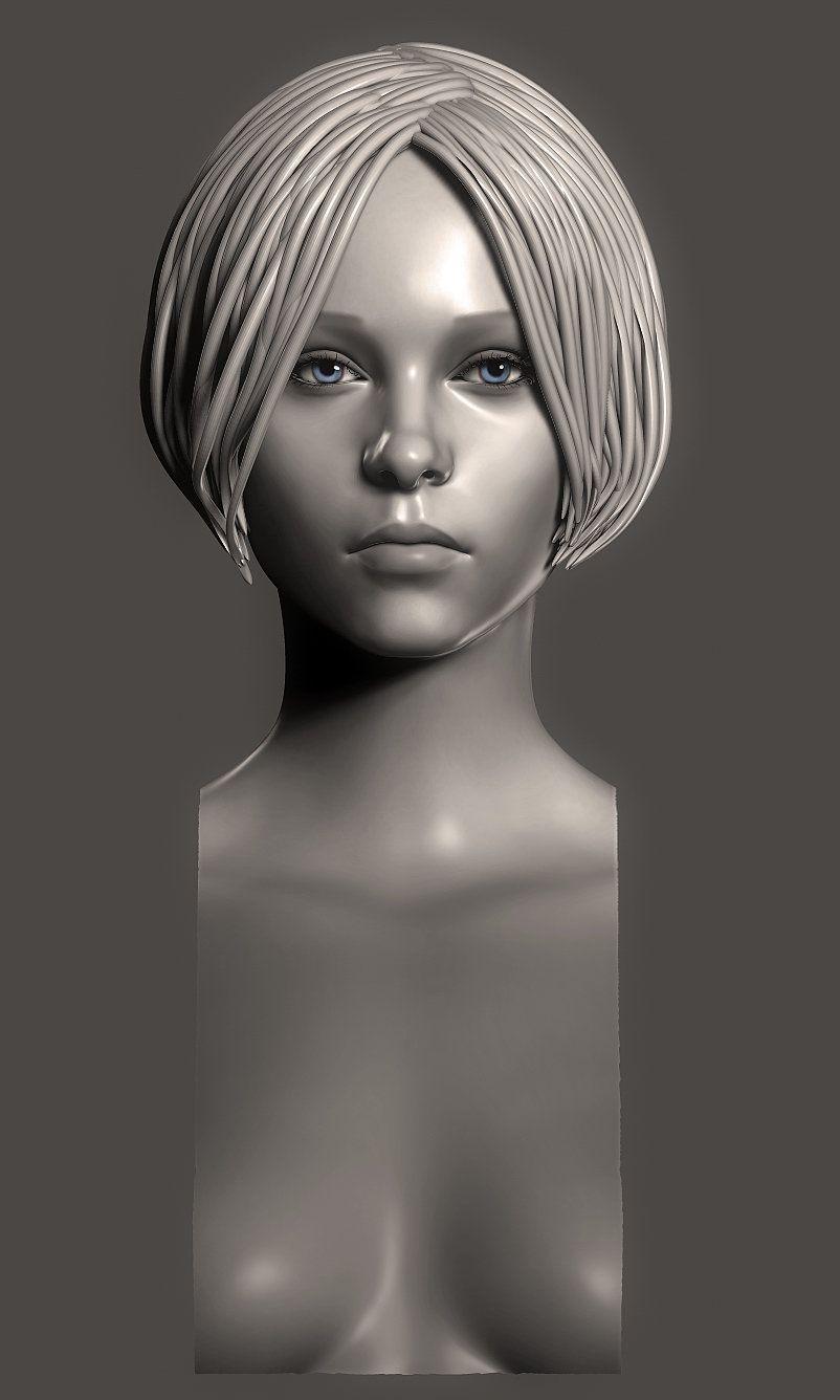 girl face, Eugene Fokin on ArtStation at https://www.artstation.com ...