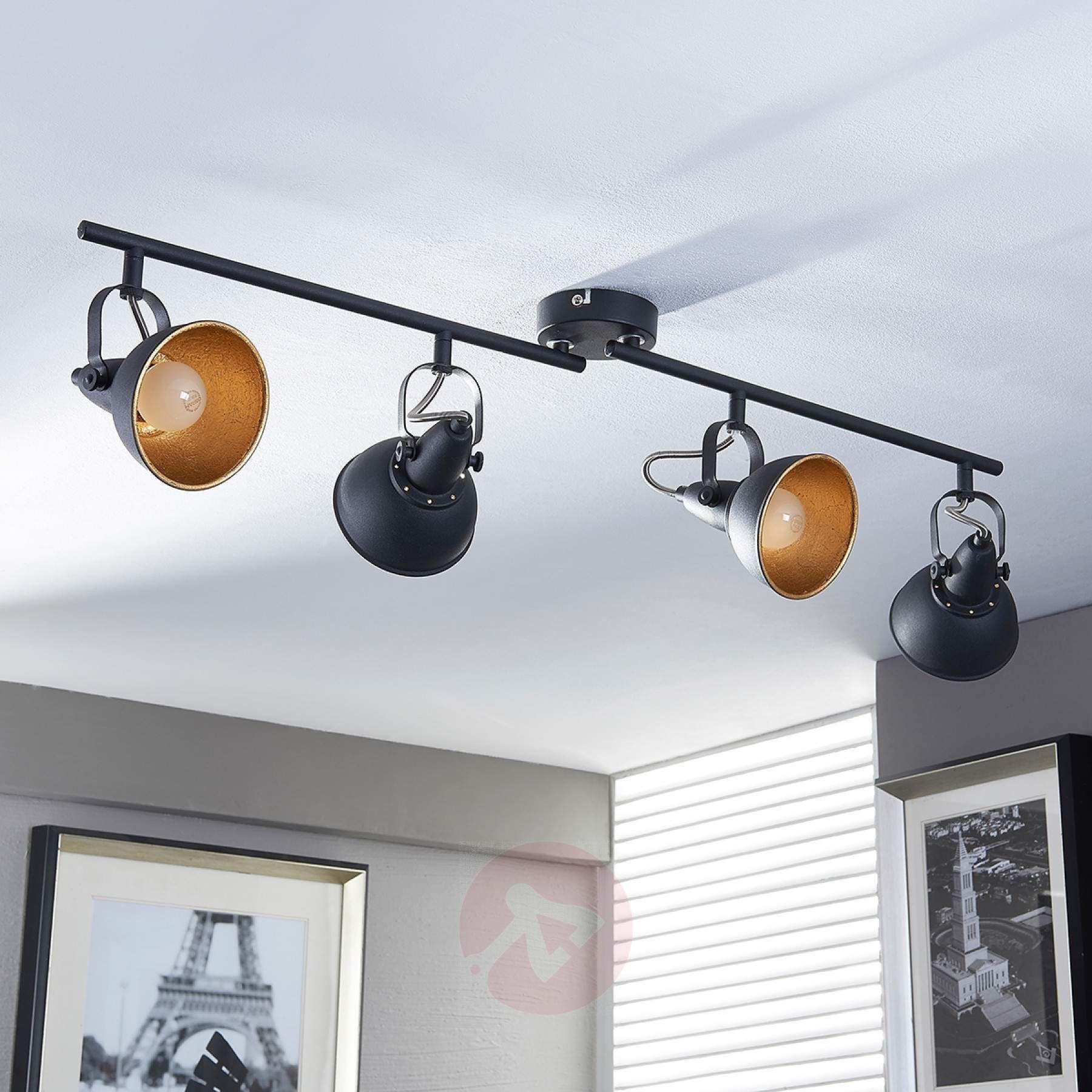 Projecteur de cuisine noir doré Julin, à 4 lampes en 2020