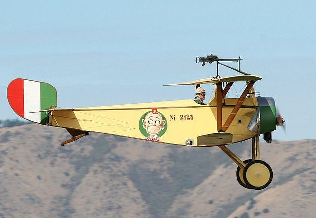The Nieuport 11, was a French World War I single seat fighter aircraft, designed by Gustave Delage. Here flying in Italian colours