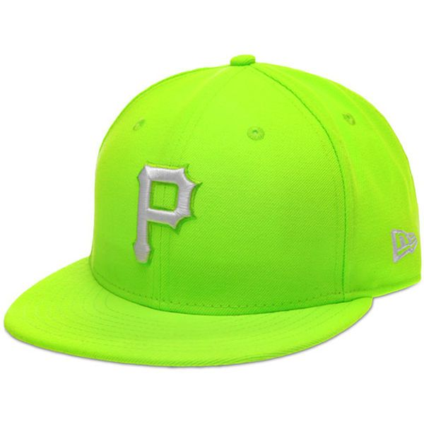 71c1b41b8f7 Men s Pittsburgh Pirates New Era Neon Green White Logo League Basic 59FIFTY  Fitted Hat