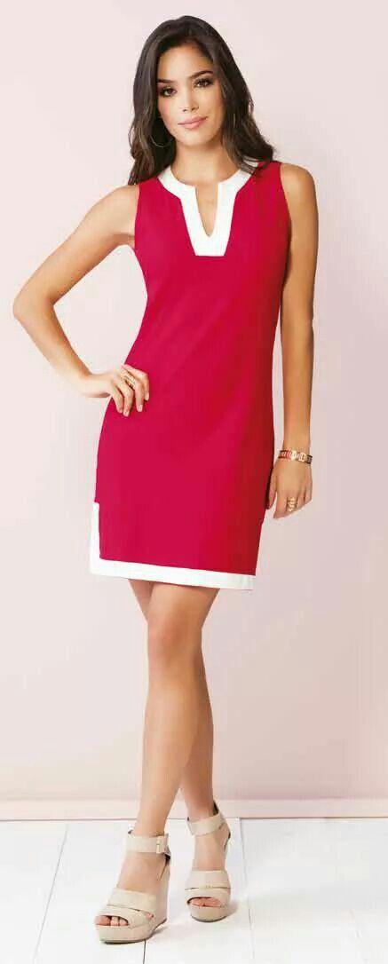 9c95009ce7716 Vestido rojo con vivos blanco