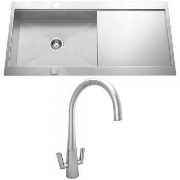 Astini Statura 1.0 Bowl Brushed Stainless Steel Kitchen Sink, Waste ...