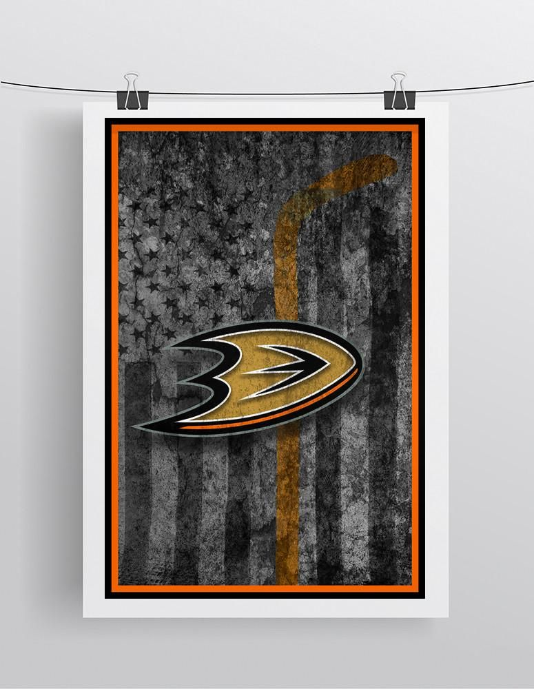 Anaheim Ducks Hockey Flag Poster, Anaheim Ducks Flag Poster, Ducks Flag Man Cave Print