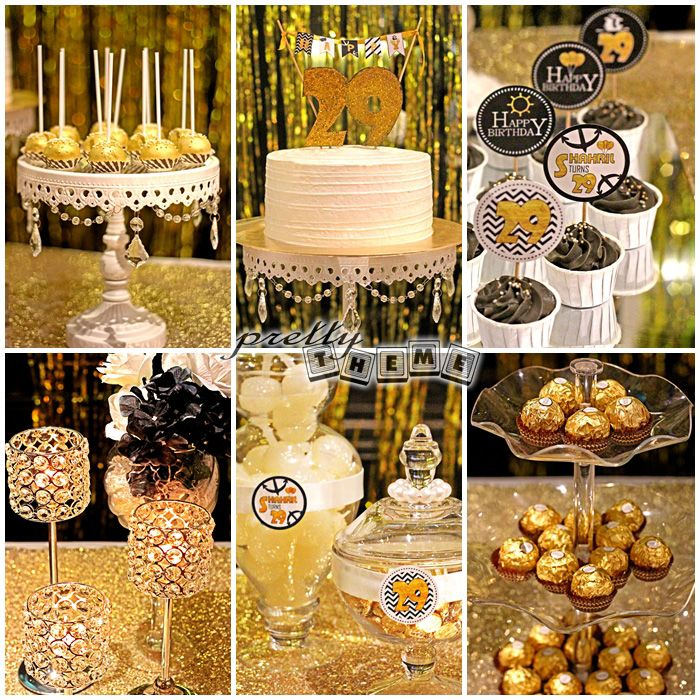 gold+black+white+theme+birthday+party+surprise+candy+buffet+dessert ...