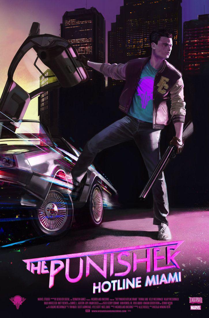 The Punisher Hotline Miami by wizardsandunicorns