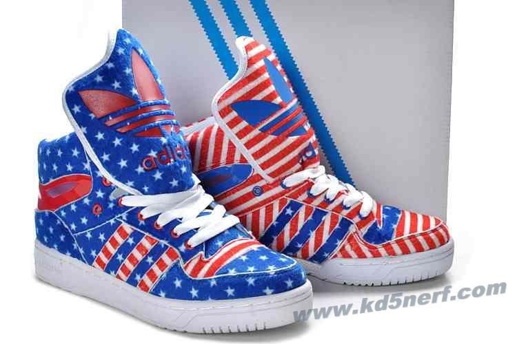 Adidas X Jeremy Scott American Flag Big Tongue Shoes Red Blue 2013