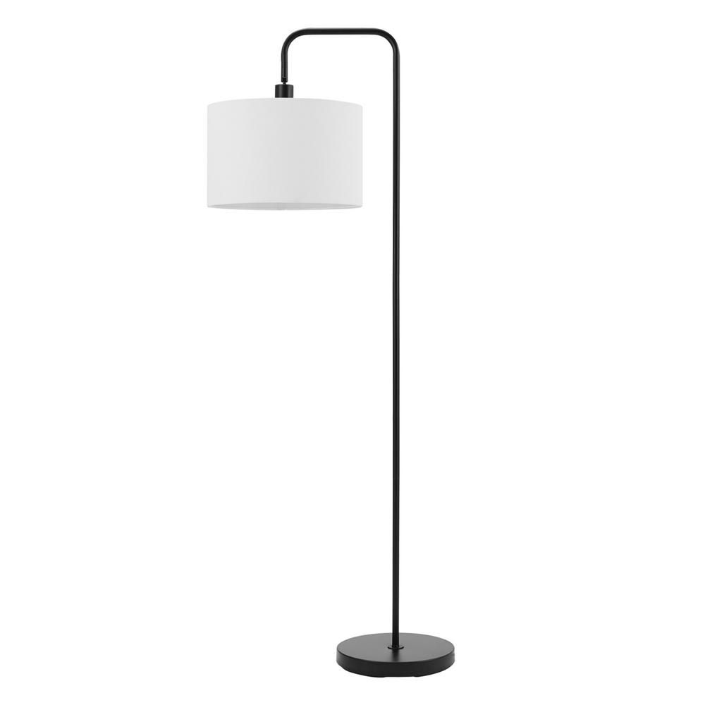 Globe Electric Barden 58 In Matte Black Floor Lamp With White Linen Shade 67065 The Home Depot Black Floor Lamp Black Lamps Arched Floor Lamp