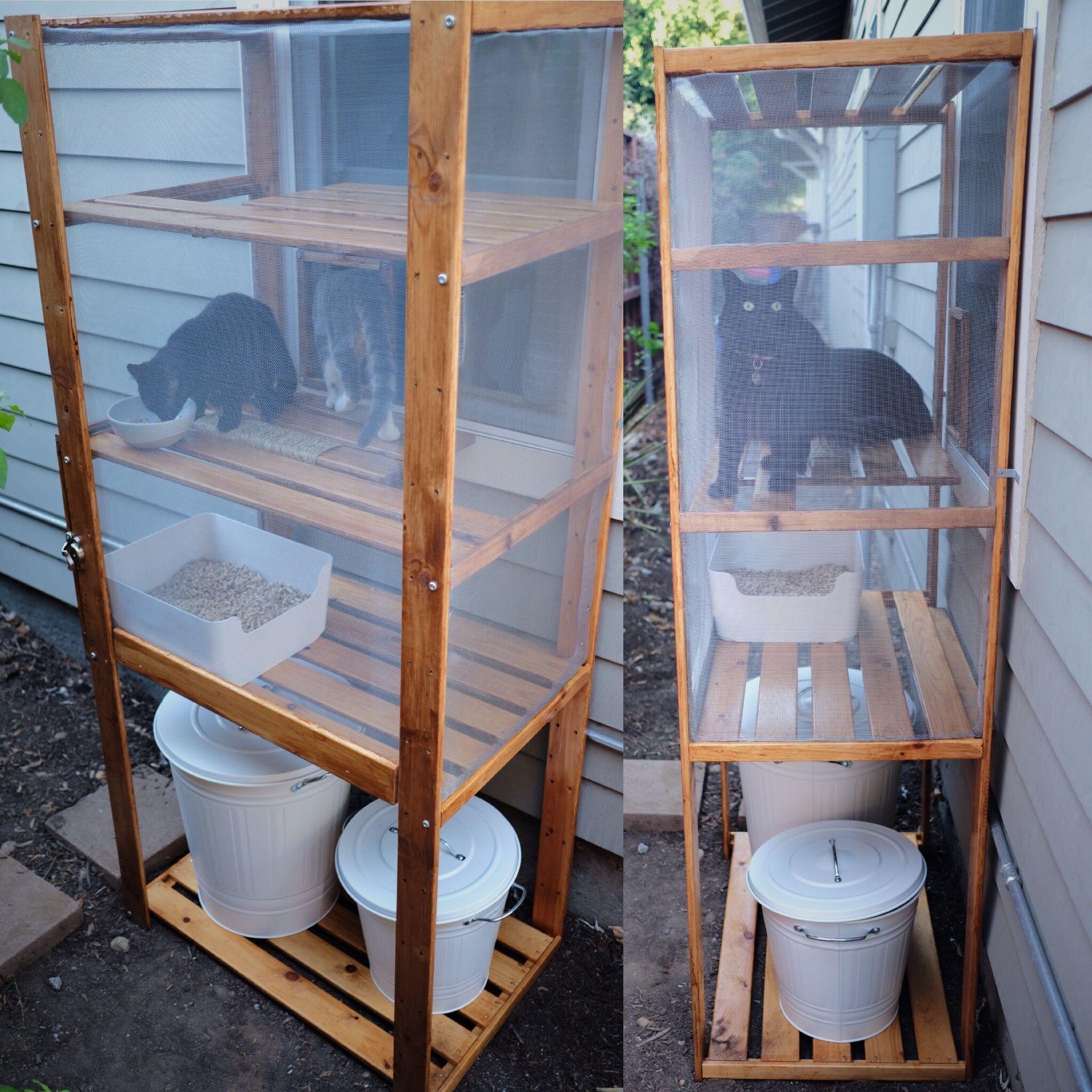 diy outdoor cat litter box/ catio made using an ikea hejne shelf
