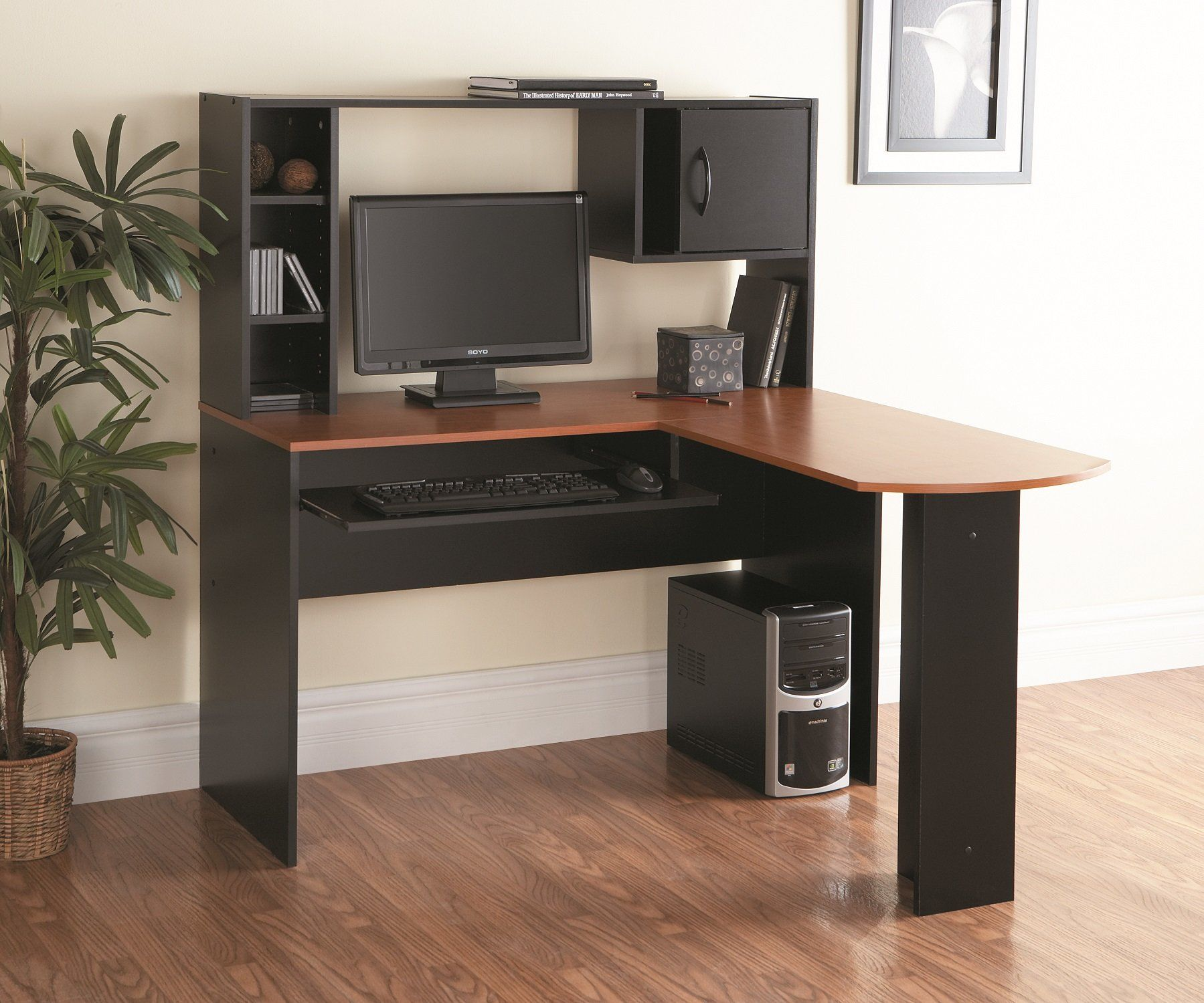 magic computer small corner office most hutch insight wood l solid desk u with shaped