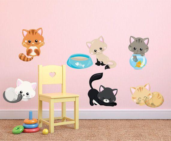 Kitten Wall Decals Kids Fabric Wall Decals Cats Wall Decal Removable Reusable Kittens Fabric Decal Kittens Kids Wall Decals Kids Wall Decals Fabric Wall