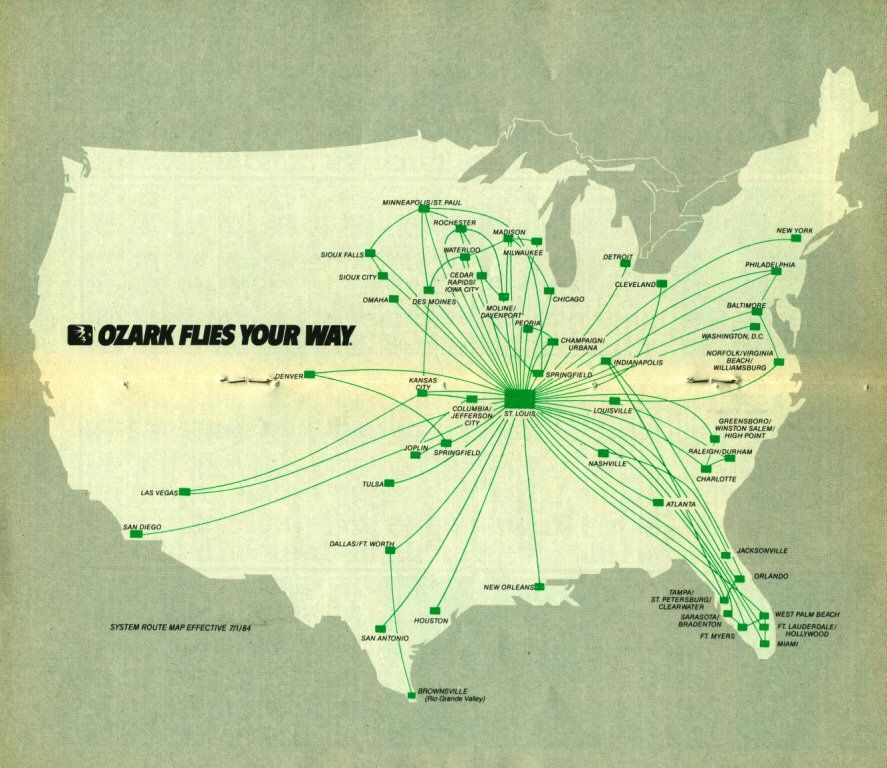 Ozark Airlines Map 1984 Ozark Air Lines Gt Go Getters Go
